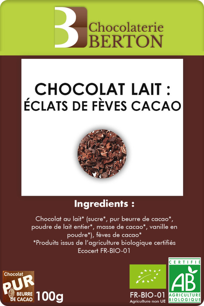 Chocolat lait éclats de feves cacao recto