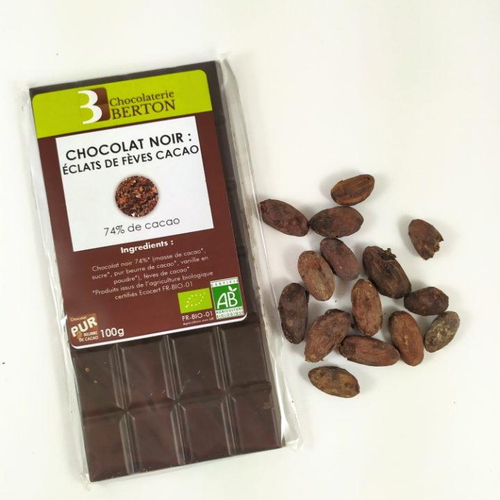 eclat de feves de Cacao Noir et feves